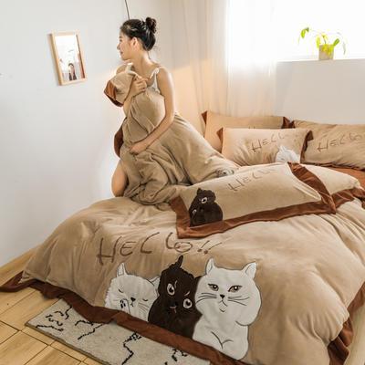 2019新款澳大利亞綿羊絨hello貓系列四件套 1.5m(5英尺)床 hello貓-卡其色