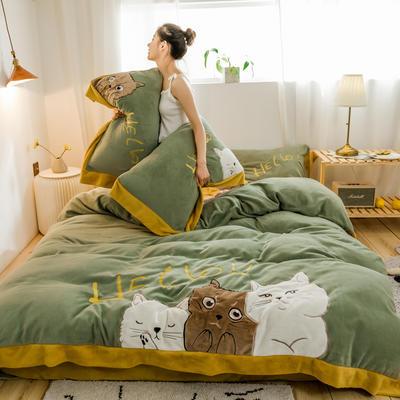 2019新款澳大利亚绵羊绒hello猫系列四件套 1.5m(5英尺)床 hello猫-牛油果绿