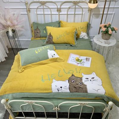 2019新款澳大利亚绵羊绒hello猫四件套(实拍) 1.5m(5英尺)床 姜黄色