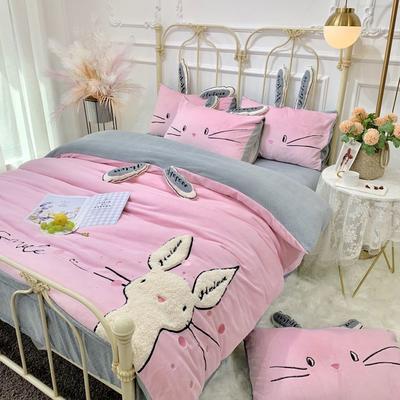 2019新款澳大利亚绵羊绒喵喵兔系列四件套(实拍) 1.5m(5英尺)床 粉色