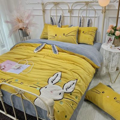 2019新款澳大利亞綿羊絨喵喵兔系列四件套(實拍) 1.5m(5英尺)床 姜黃色