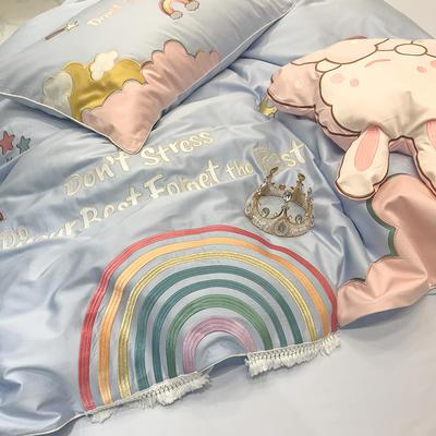 2020新款长绒棉四件套-彩虹乐园系列 1.5m床单款四件套 彩虹乐园兰