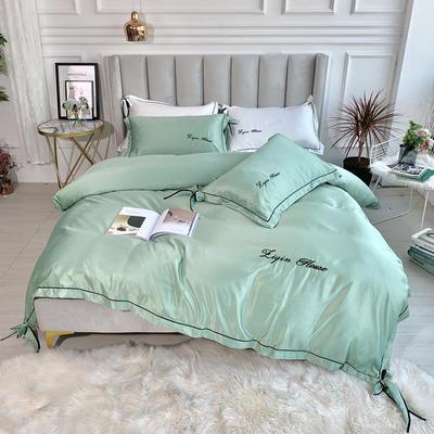 2019新款双面水洗真丝四件套-芳华 1.8m(6英尺)床 优雅绿