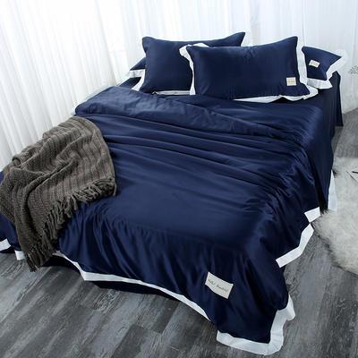 2019新款双面水洗真丝四件套-威尼斯 1.8m(6英尺)床 威尼斯-宝石蓝