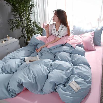 2019新款海藻棉纯色系列四件套 1.2m(4英尺)床 水天蓝