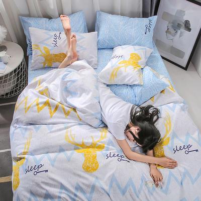 2019新款海藻棉INS小清新系列四件套 1.2m(4英尺)床 初见
