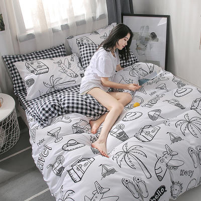 2019新款海藻棉INS小清新系列四件套 1.2m(4英尺)床 假日