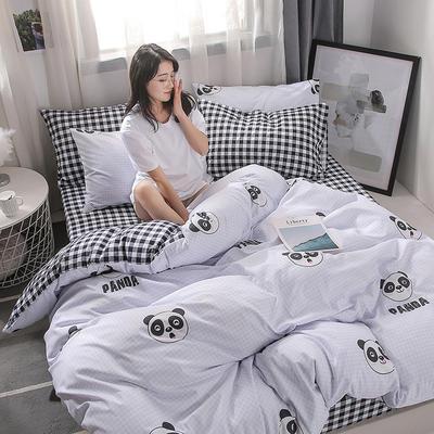 2019新款海藻棉INS小清新系列四件套 1.2m(4英尺)床 熊猫