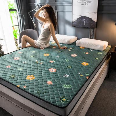 2020新款四季款乳胶记忆海绵立体床垫 0.9*1.9 泫雅花墨绿(5cm)