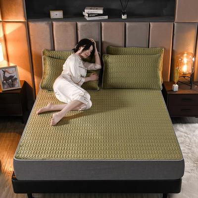 2020新款牛奶绒夹棉乳胶床笠 床护垫150cmx200cm三件套 橄榄绿