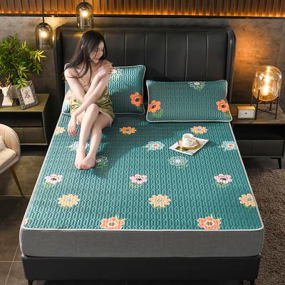 2021新款凉感丝乳胶凉席(印花系列) 1.2*2.0m凉席两件套 花语甜心