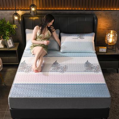 2021新款凉感丝乳胶凉席(印花系列) 1.2*2.0m凉席两件套 挪威森林-蓝
