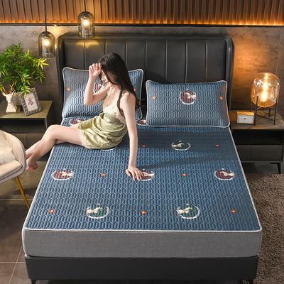 2021新款凉感丝乳胶凉席(印花系列) 1.2*2.0m凉席两件套 天马行空-蓝