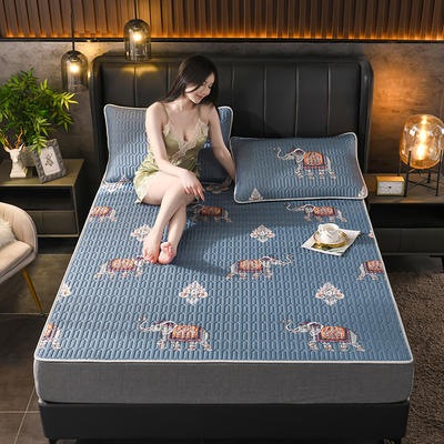 2021新款凉感丝乳胶凉席(印花系列) 1.2*2.0m凉席两件套 万象森罗-蓝