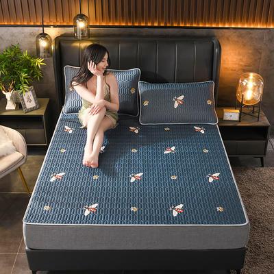 2021新款凉感丝乳胶凉席(印花系列) 1.2*2.0m凉席两件套 小蜜蜂-蓝
