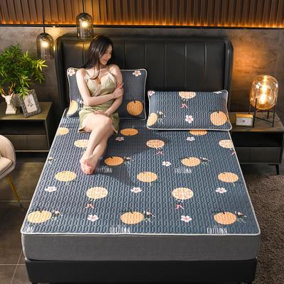 2021新款凉感丝乳胶凉席(印花系列) 1.2*2.0m凉席两件套 小蜜桔-灰