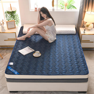 2021新款针织乳胶立体有氧棉床垫 0.9*1.9m 菱形蓝(10cm)