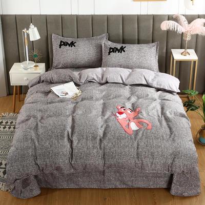 2019新款加厚植物羊绒磨毛四件套-抖音粉红豹 1.8m床单款四件套 粉红豹