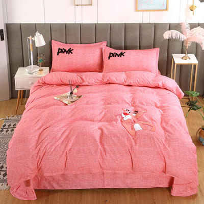 2019新款加厚植物羊绒磨毛四件套-抖音粉红豹 1.8m床单款四件套 粉红豹粉