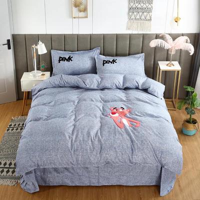 2019新款加厚植物羊绒磨毛四件套-抖音粉红豹 1.8m床单款四件套 粉红豹蓝