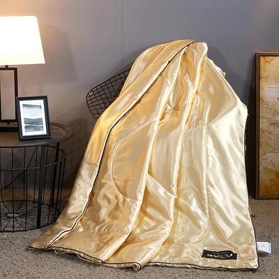 2019新款水洗真丝夏被天丝夏被冰丝夏被空调被夏凉被夏被三件套夏被四件套 枕套一对 金色
