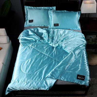 2019新款水洗真丝夏被天丝夏被冰丝夏被空调被夏凉被夏被三件套夏被四件套 枕套一对 水蓝色