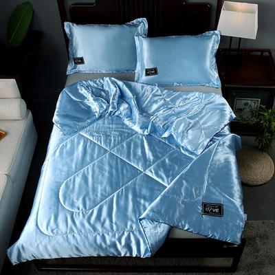 2019新款水洗真丝夏被天丝夏被冰丝夏被空调被夏凉被夏被三件套夏被四件套 枕套一对 天蓝色