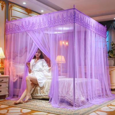 2021新款欧式宫廷蕾丝落地蚊帐—繁花 1.5x2.0m 繁花-紫  #25支架