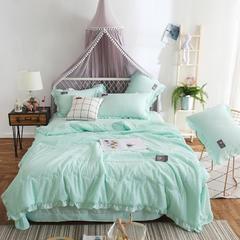 2019新款素色泡泡纱贴标夏被四件套 1.8m(6英尺)床 心悦 绿色