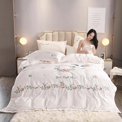 2019秋冬新风尚超厚宝宝绒水晶绒牛奶绒高端绒类刺绣工艺四件套 1.8m(6英尺)床 象牙白