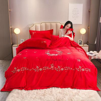2019秋冬新风尚超厚宝宝绒水晶绒牛奶绒高端绒类刺绣工艺四件套 1.8m(6英尺)床 中国红