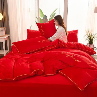 【让利冲量】2019秋冬新风尚加厚水晶绒刺绣宝宝绒婴儿绒法莱绒四件套 1.8m(6英尺)床 中国红