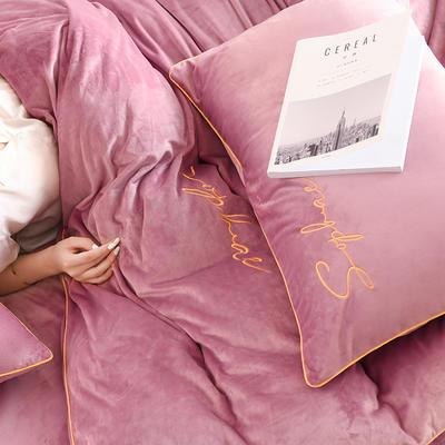 【让利冲量】2019秋冬新风尚加厚水晶绒刺绣宝宝绒婴儿绒法莱绒四件套 1.8m(6英尺)床 浪漫紫
