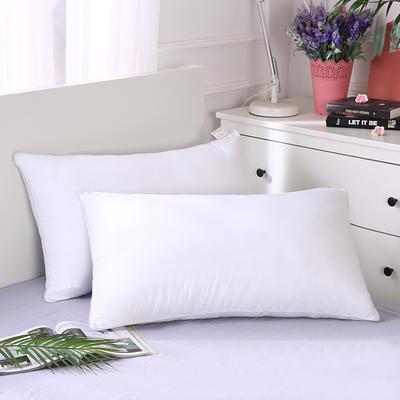 2019新款全棉羽絲絨酒店枕芯可水洗機洗五星級枕頭爆款-單邊羽絲絨枕(48*74 ) 白/個