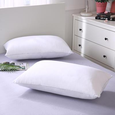 2019新款全棉羽絲絨酒店枕芯可水洗機洗五星級枕頭爆款-單邊羽絲絨枕(48*74 ) 白/對