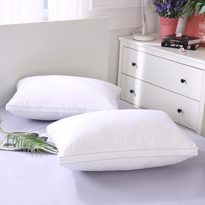 2019新款全棉羽丝绒酒店枕芯可水洗机洗五星级枕头爆款-双边羽丝绒枕(48*74  ) 白/个