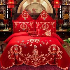 喷气全棉13375婚庆多件套--百子迎福 2.0m床 七件套(床裙式)