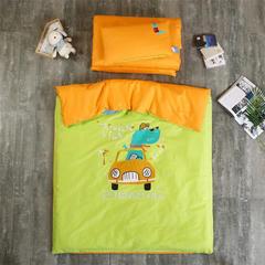 素色贴布绣花幼儿园三件套/六件套 幼儿园儿童被套件 枕套30x50 假日旅行-绿橘双拼