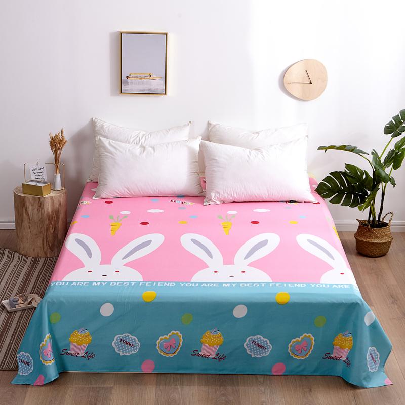 芦荟棉床单单件学生宿舍单人床1.2m双人床1.8m 90cmx210cm 粉红兔