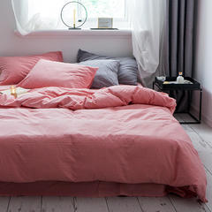 2019新款全棉色织水洗棉被套单品粉色 150x200cm 粉色