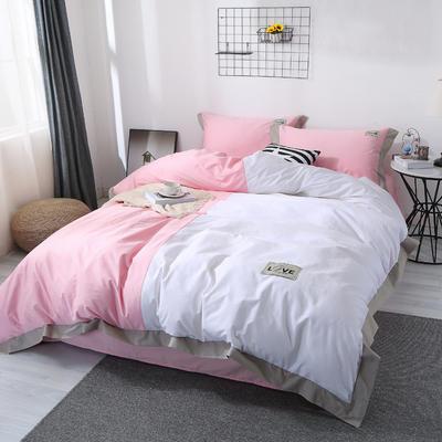 2019新品情侣纯色四件套 1.8m(6英尺)床 时尚风-粉