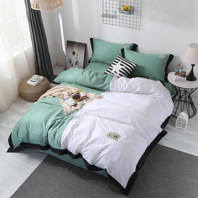 2019新品情侣纯色四件套 1.8m(6英尺)床 时尚风-绿
