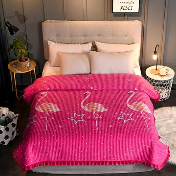 2019新款水晶绒+纯色水洗棉花边床盖