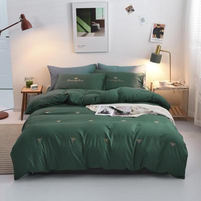 2019新款绣花轻奢系列四件套 1.8m(6英尺)床单款 小蜜蜂-绿