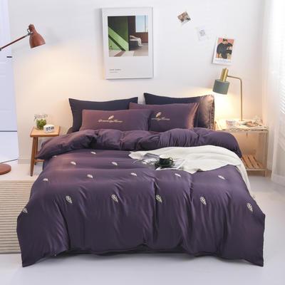 2019新款绣花轻奢系列四件套 1.8m(6英尺)床单款 羽毛-紫色