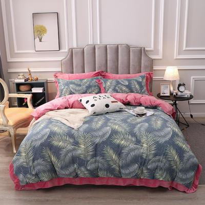 2019新款棉加绒花边款小清新时尚保暖水晶绒牛奶绒四件套 1.2m床单款三件套 热带风情