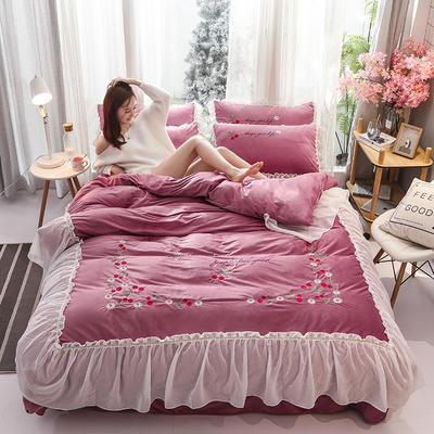 2019新款蕾丝花边刺绣宝宝绒水晶绒四件套 1.8m床单款四件套 甜心公主-豆沙