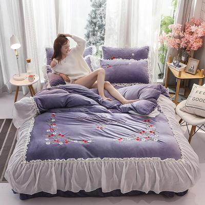 2019新款蕾丝花边刺绣宝宝绒水晶绒四件套 1.8m床单款四件套 甜心公主-浅紫