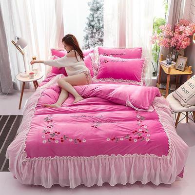 2019新款蕾丝花边刺绣宝宝绒水晶绒四件套 1.2m床单款三件套 甜心公主-深粉