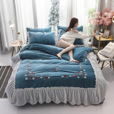 2019新款蕾丝花边刺绣宝宝绒水晶绒四件套 1.8m床单款四件套 甜心公主-棕蓝